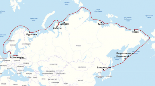 Маршрут барка «Седов» в августе- ноябре 2020 г.